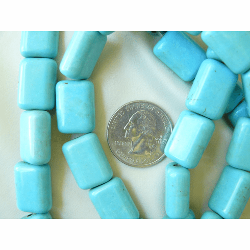 "Magnesite Turquoise Rectangles 13x18x8mm 16"" strands"