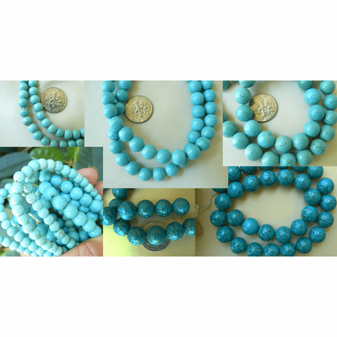 "Magnesite Turquoise round beads 4mm 16"" strand"