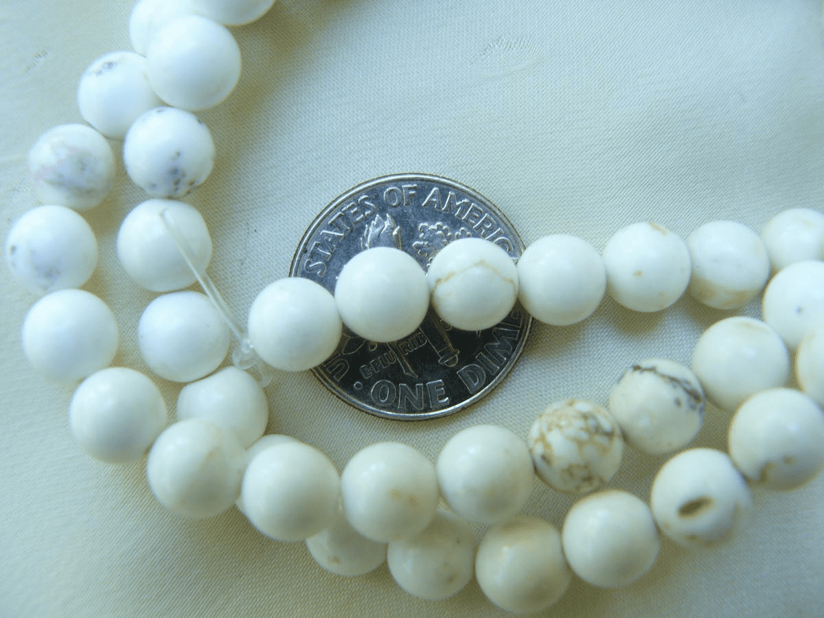 "Magnesite White round  6mm Beads 16"" strands"