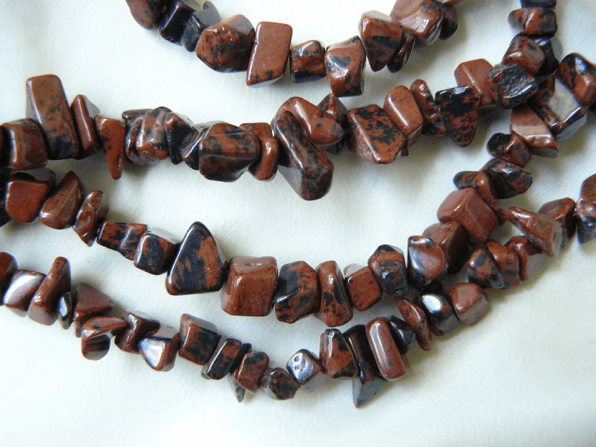 "Mahogany Obsidian Chip Beads 32"" Strands Ready to wear"