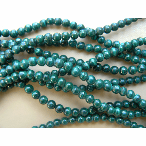 "Malachite 4mm Round natural African Beads 16"" strands"