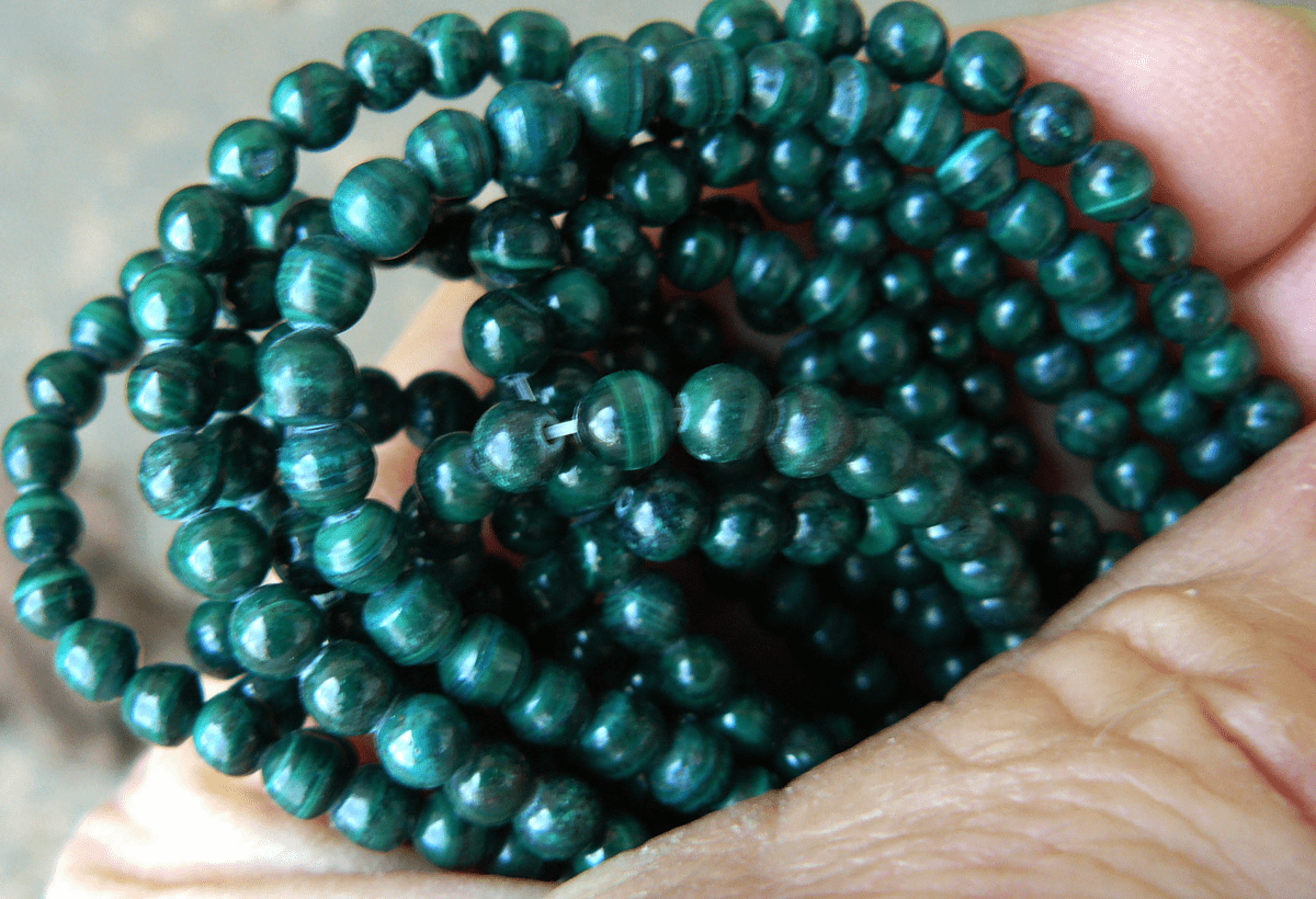 "Malachite beads 4mm 16"" strands 100 beads natural stone"