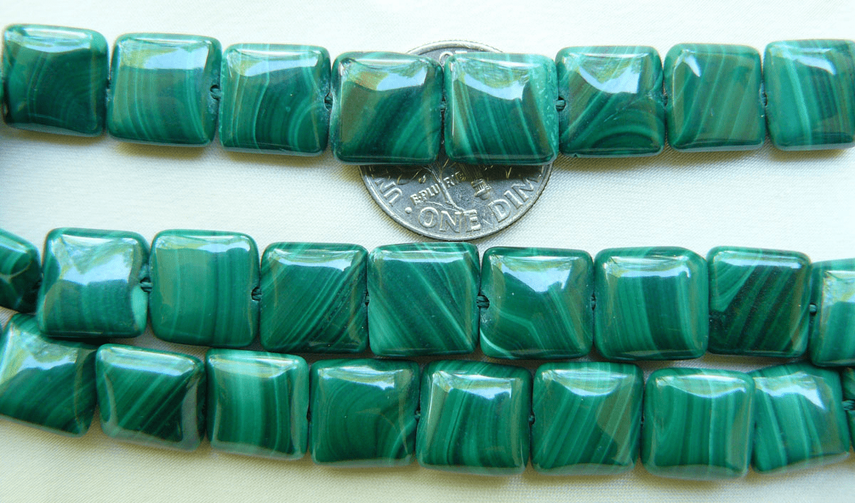 "Malachite ""Chicklet"" Square Beads 10x10mm 16"" strand"