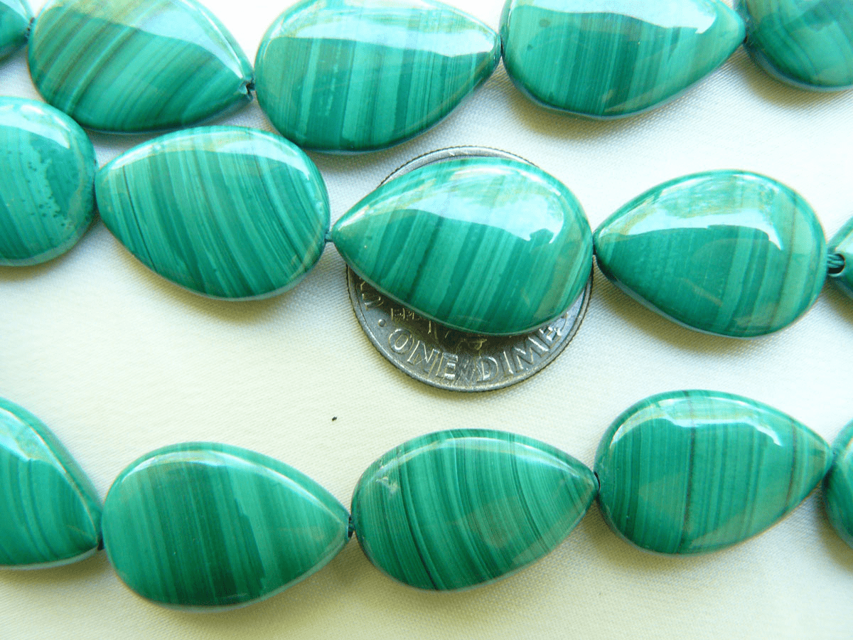"Malachite Flat Drops 12x20mm 16"" Strands Natural Stone Beads"