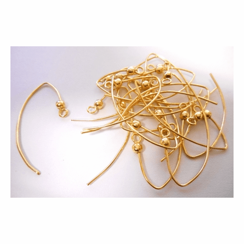 Marquis Ear Wire With 3mm Bead - 23x47mm - 20 Pieces - 24kt Gold Over Copper