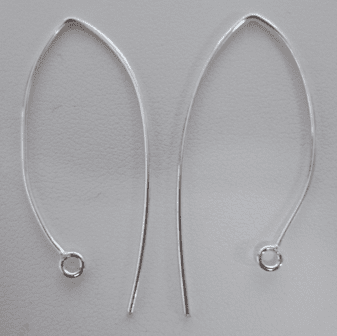 Marquise Earwire - 36mm - 14 Pairs - .999 Silver Over Copper<br>SCBK036