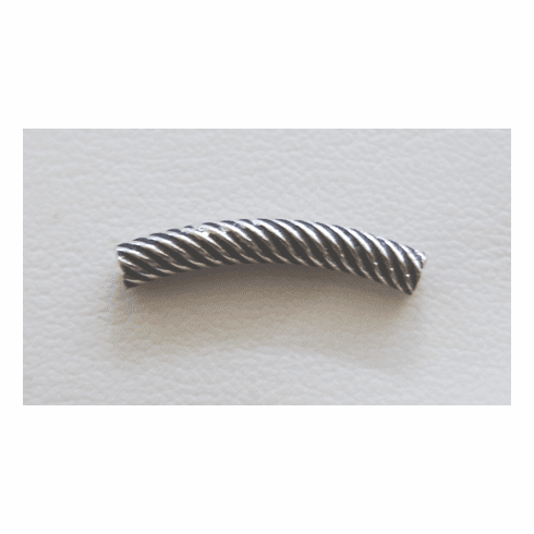 Matted Coil Curved Tube - 21mm - 22 Pieces - .999 Silver Over Copper<br> SCBK103