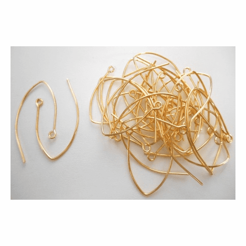 Medium Marquis Ear Wire - 30x39mm - 32 Pieces - 24kt Gold Over Copper