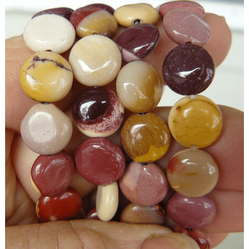 """Mookaite Beads- Small Coin cut natural Colors 16"""" Strand"""