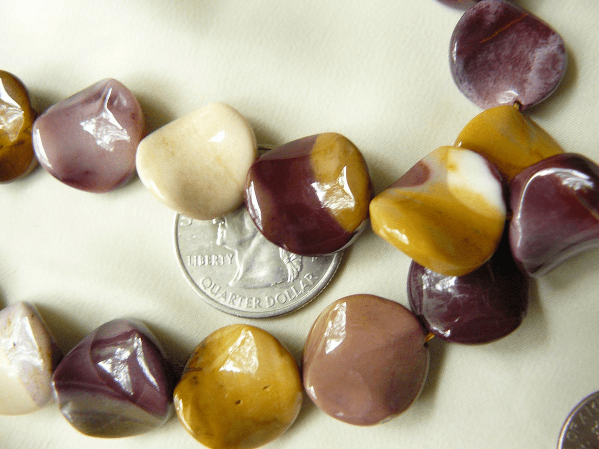 Mookaite Beads unique waverly Twisted Coin shape 16mm