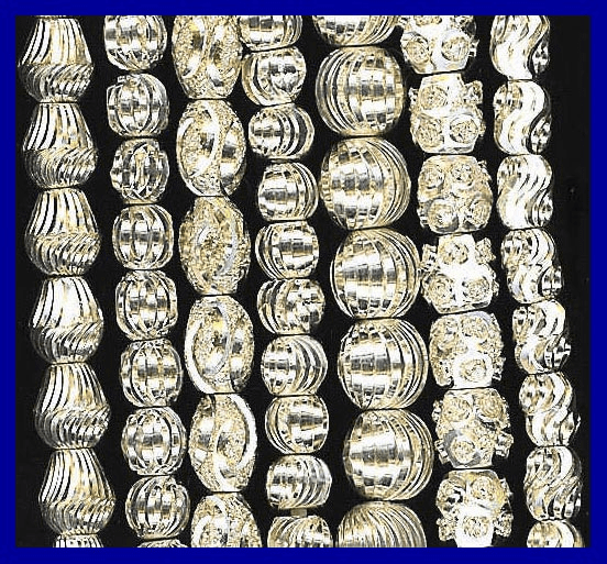 More Diamond Cut Silver Plated  Beads