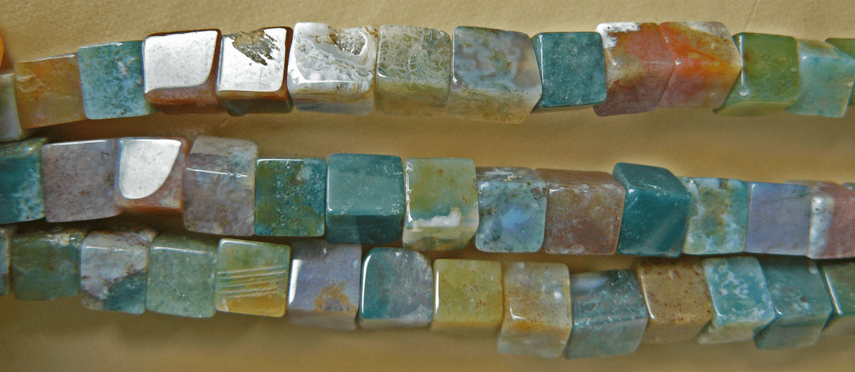 """Moss Agate 7mm Square Beads 16""""Strands"""