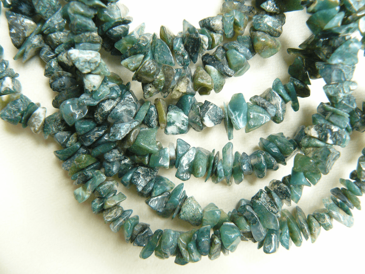 """Moss Agate Beads Chip 32 """" strands"""