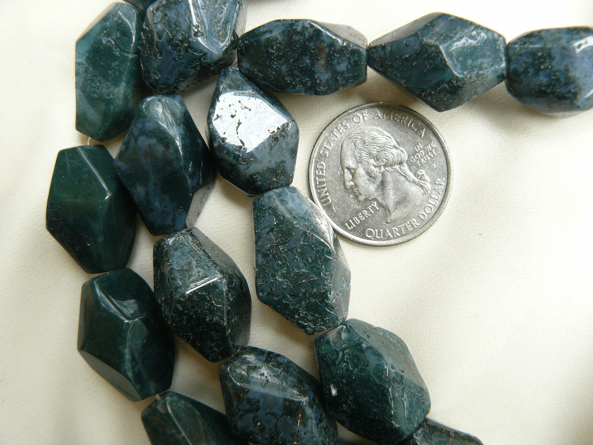 """Moss Agate Beads Faceted Chunky 14x21mm 16"""" Strands"""