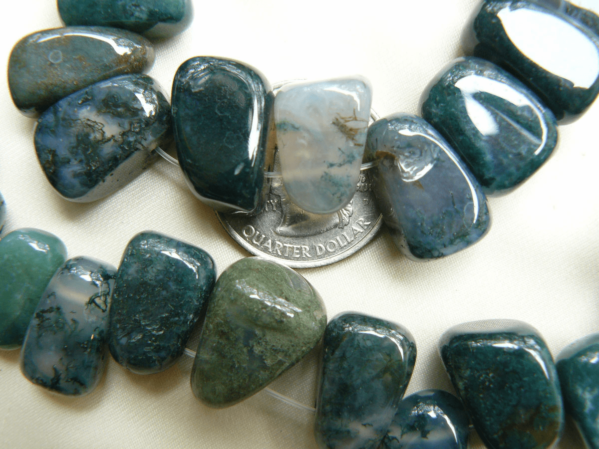"""Moss Agate Beads Top Drilled Chunkey cubes 15"""" Strands"""