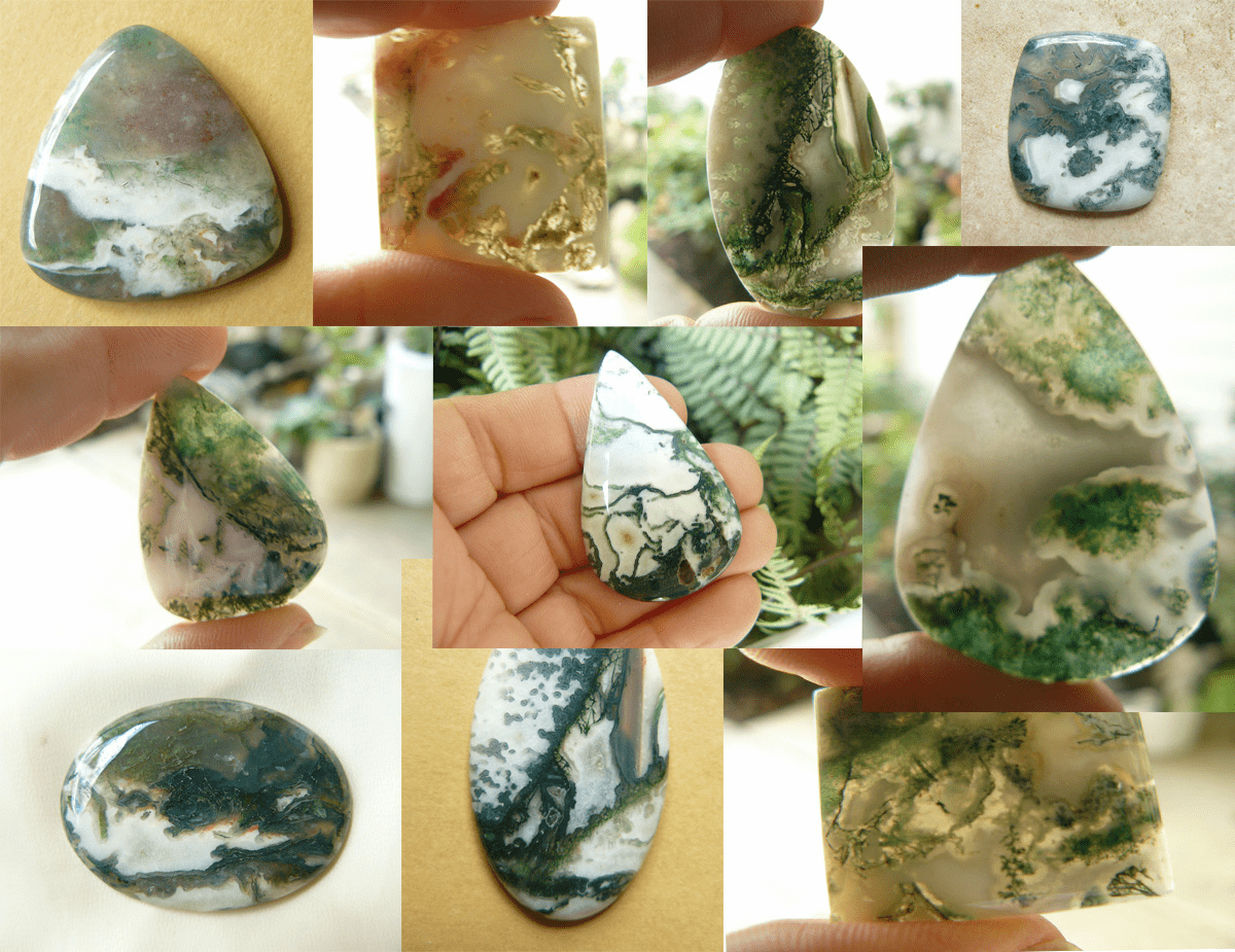 Moss Agate Cabochons Scenic wonders