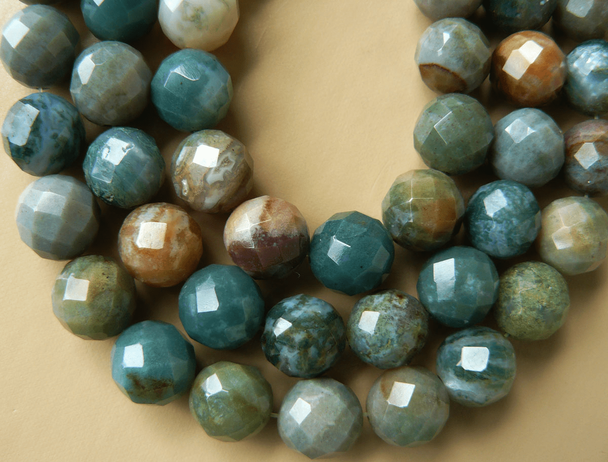 """MOSS AGATE FACETED ROUND 14mm 16"""" strands"""