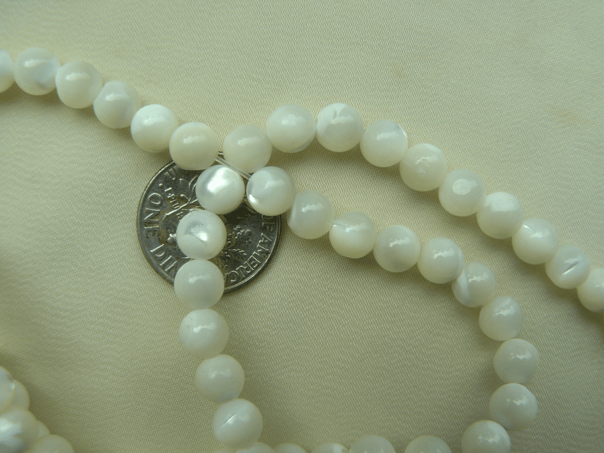 "Mother of pearl 6mm round shimmering beads 16"" strands"