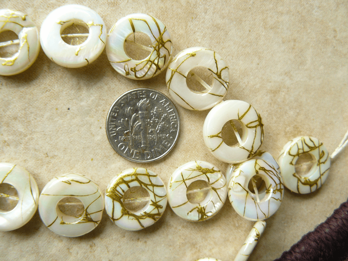 Mother of Pearl Life saver Beads 15mm with 6mm center hole