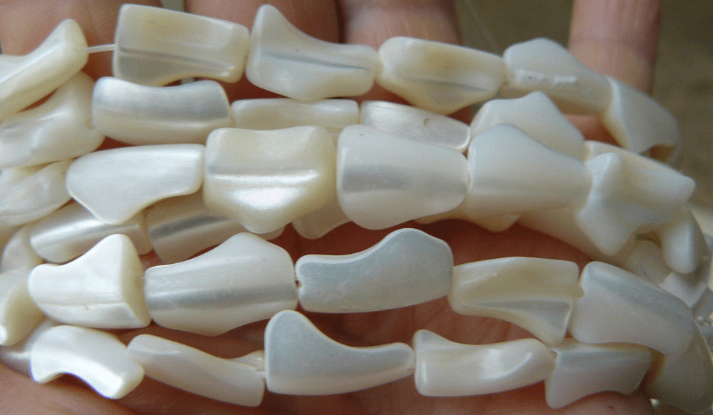 "Mother Of Pearl Pieces Beads 16"" strands 9x15mm freeform pieces"