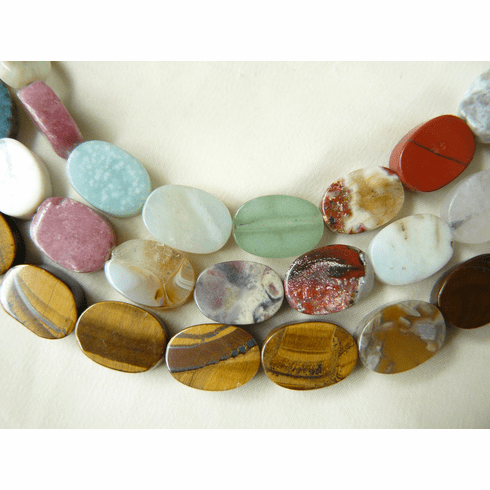 "Multi-stone oval Beads 10x14x5mm 16"" strands Assorted Gemstones"