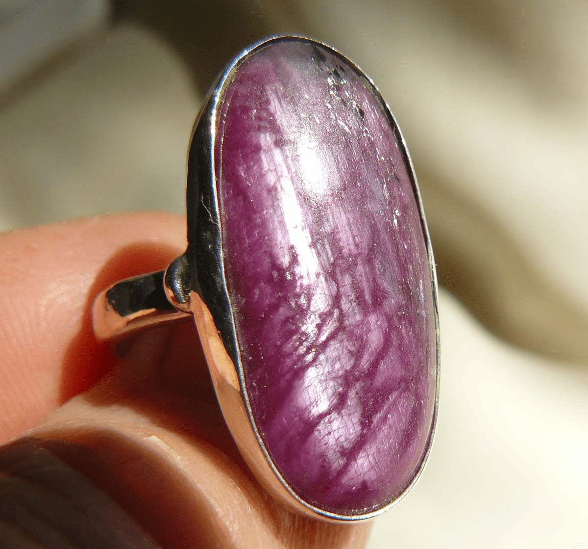 Natural Ruby Ring Set in Sterling Silver size 6-3/4  10x25MM stone