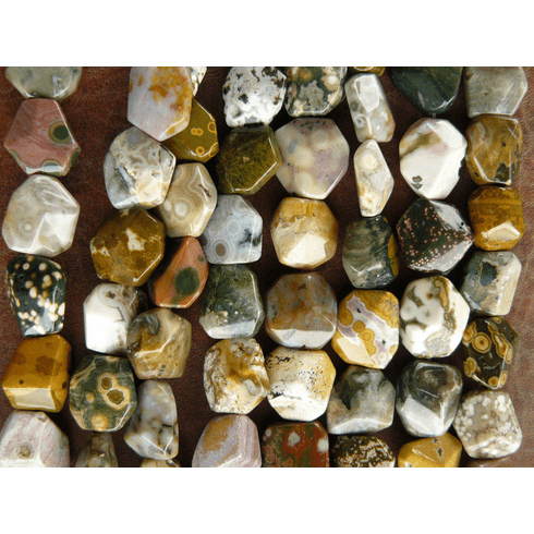 "Ocean Jasper Beads Nugget faceted 16""Strands 17X19MM"