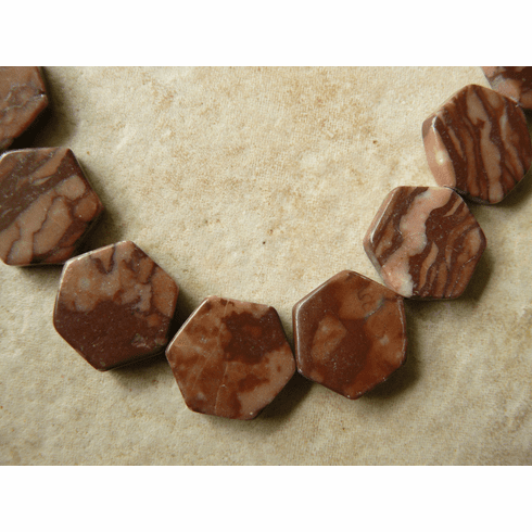"Octagon CocoJasper Beads 16"" strands 18mm beads"