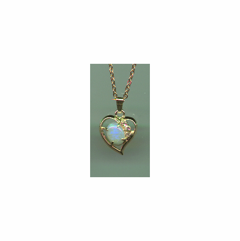 Opal Pendant with Heart Setting