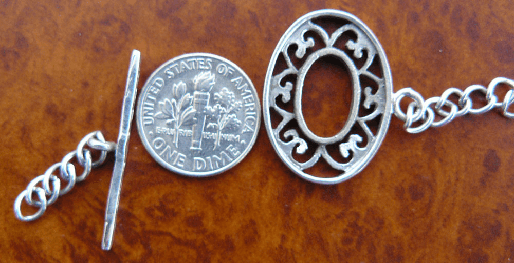 Oval Bali style toggle 925 Sterling Silver one set
