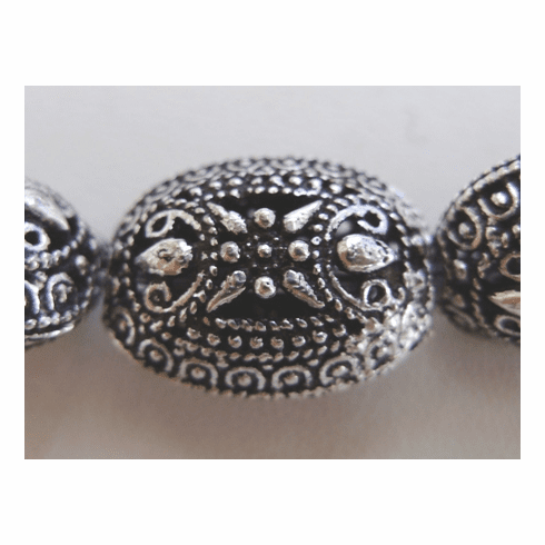 Oval Hollow Bead - 20mm - 4 Beads - .999 Silver Over Copper<br>SCBK4-13