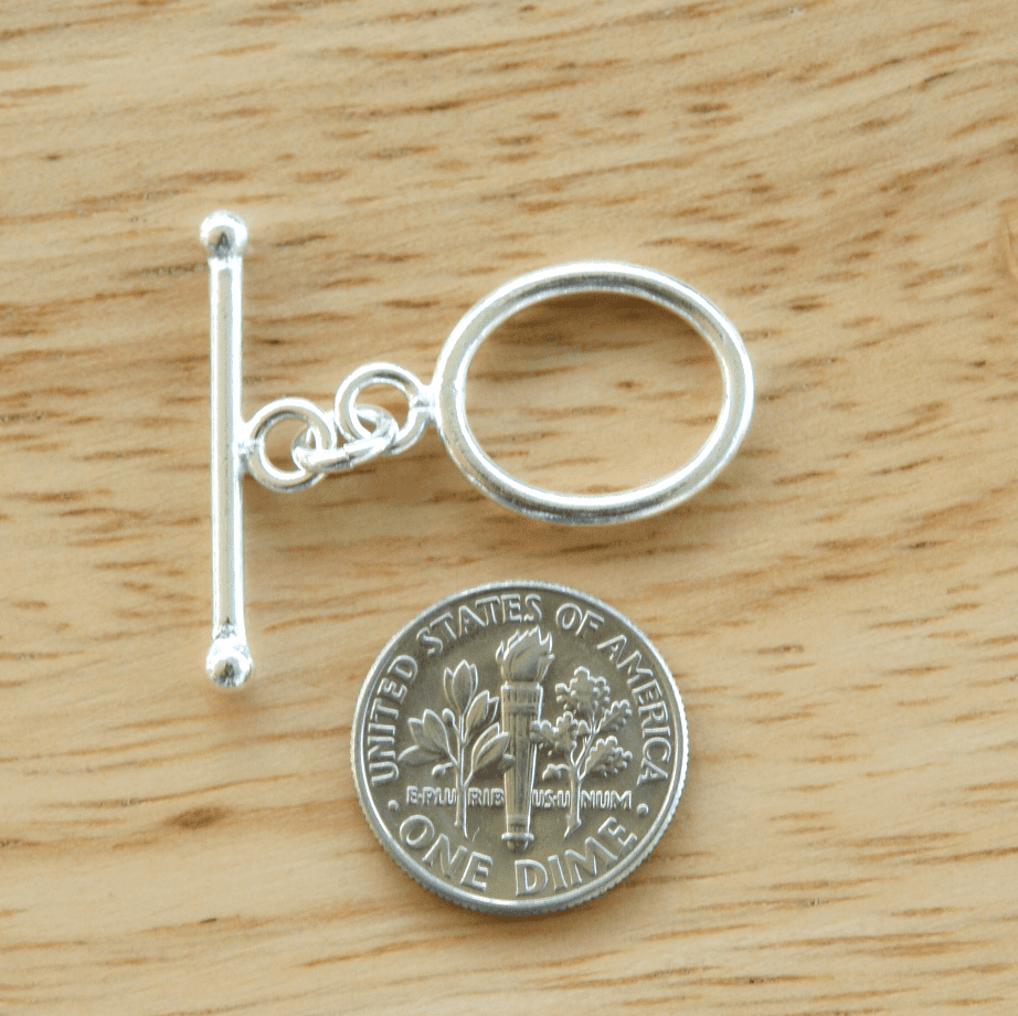 Oval Toggle - 13x18mm round w/ 28mm Bar - 7 Clasps - .999 Silver Over Copper