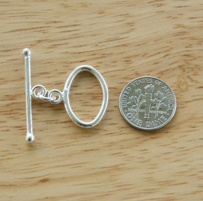 Oval Toggle - 13x21mm Oval w/ 33mm Bar - 5 Clasps - .999 Silver Over Copper