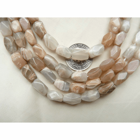 """Peach Moonstone Beads Faceted 11x6mm 15"""" Strands"""