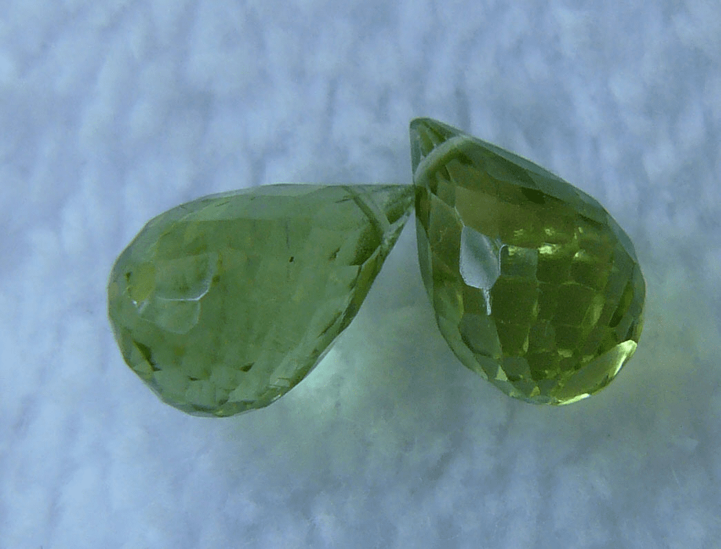 Peridot Briolette faceted Beads Set of 2 beads 7x10MM
