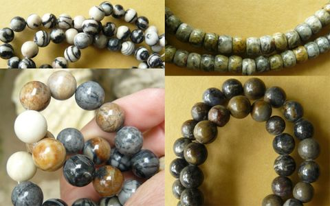"Picasso Marble  Beads - Round, Rondelles and more 16"" strands"