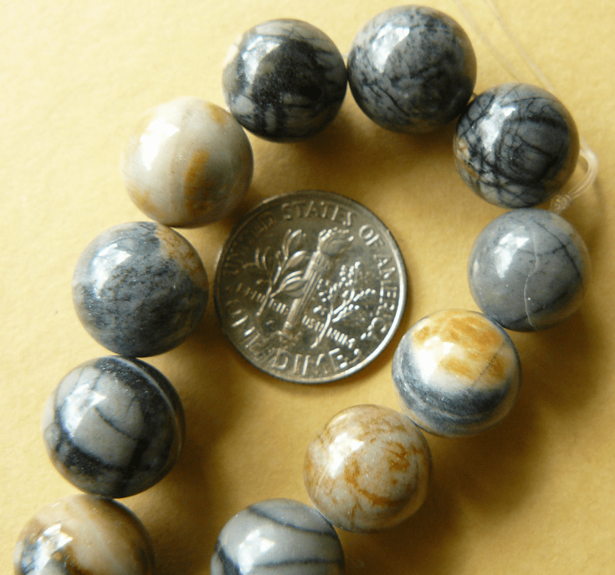 Picasso Marble Beads- 10mm 16 inch Strand