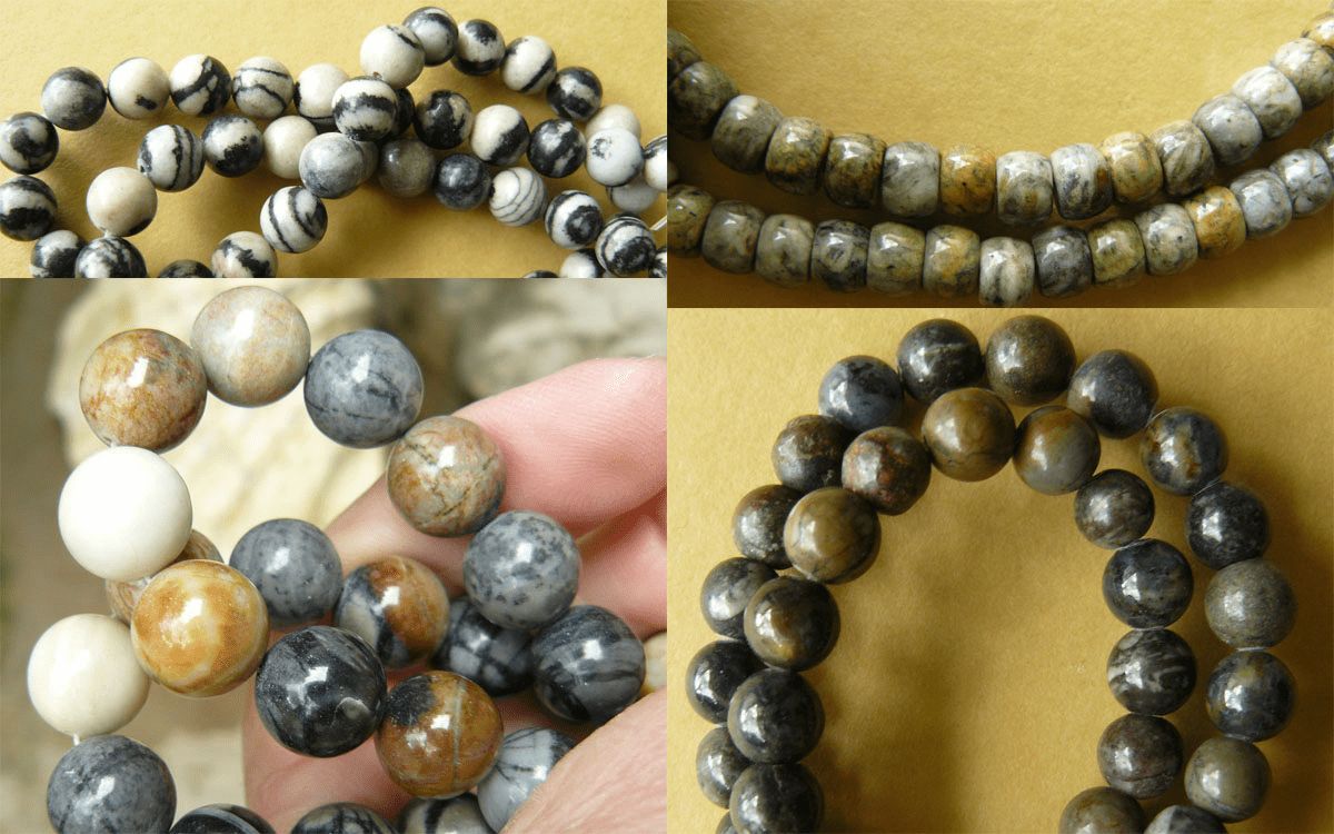 """Picasso Marble  Beads - Round, Rondelles and more 16"""" strands"""