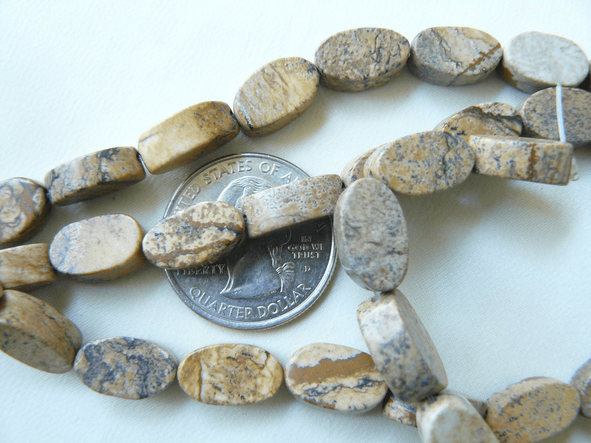 "Picture Jasper Oval Beads 8x13x5mm 16"" Strands"