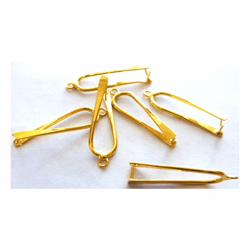 Pinch Bail - 9x33mm - 6 Pieces - 24kt Gold Over Copper
