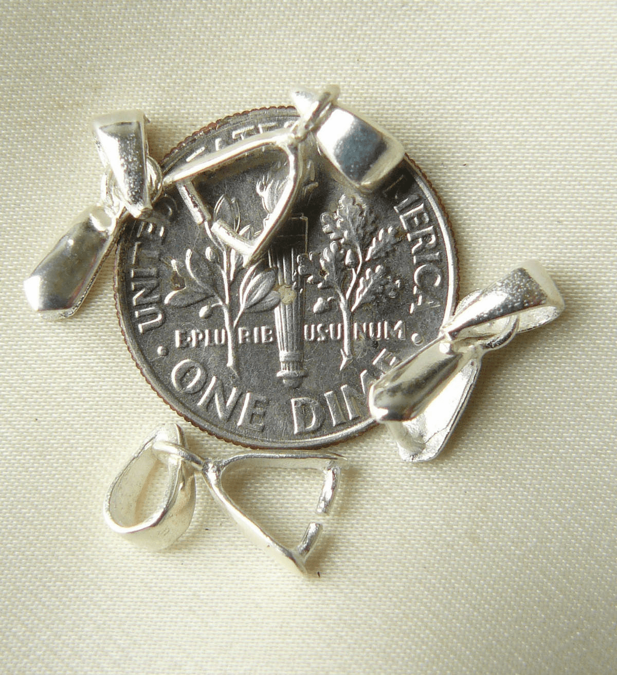 Pinch Bail with it own bail Sterling silver petite size 5 pieces SFBF034