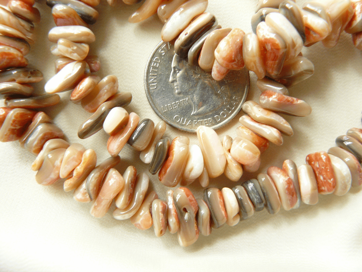 "Pink Abalone Chips average 2x10mm 16"" strands"