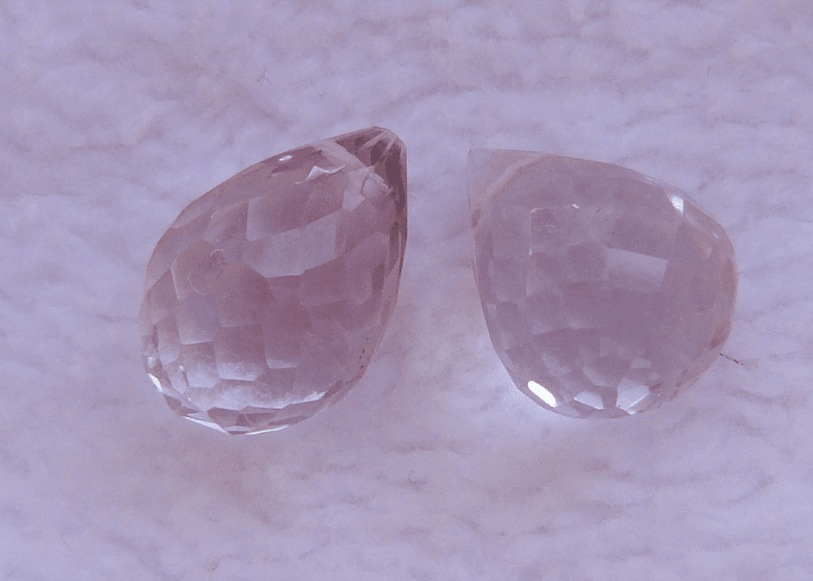 Pink Amethyst Briolette faceted Bead set of 2 Drops 7x12MM