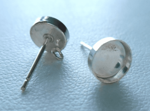 Post w/ Cab Setting - 6mm - 1 Pair - Sterling Silver<br>P6