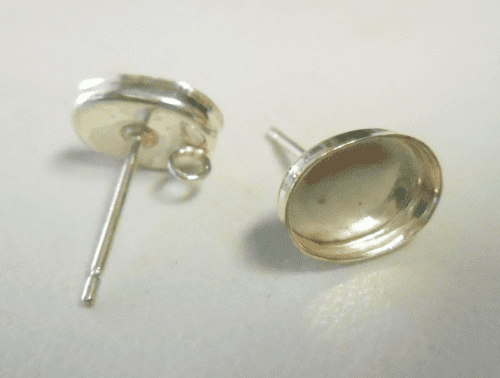 Post w/ Cab Setting - 8x6mm - 1 Pair - Sterling Silver<br>P86