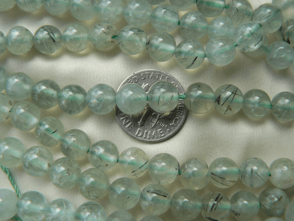 Prehnite Beads 6mm Round Green Quartz with Tourmaline Shards