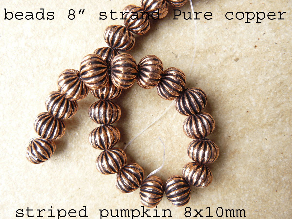 "Pure Copper Bead striped pumpkin 8x10mm 26 Beads 8"" strand"