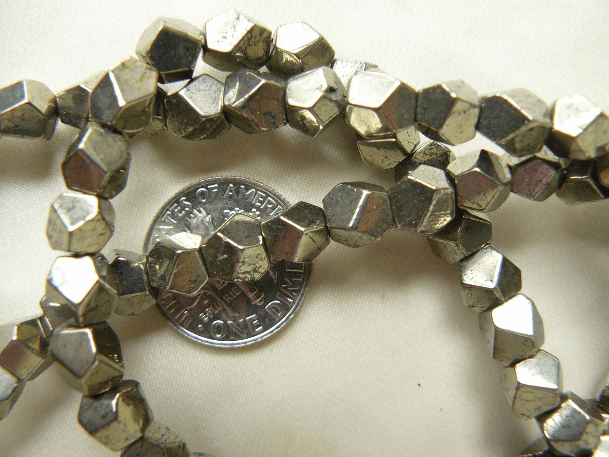 Pyrite Beads Faceted nuggets looking like Gold