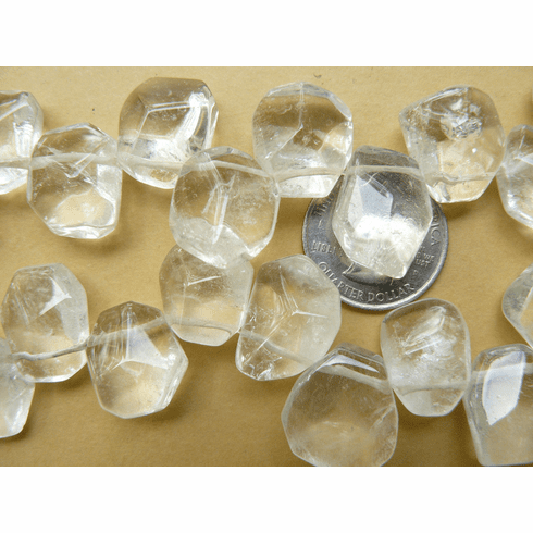 quartz - Faceted Chunky nuggets Top Drilled beads
