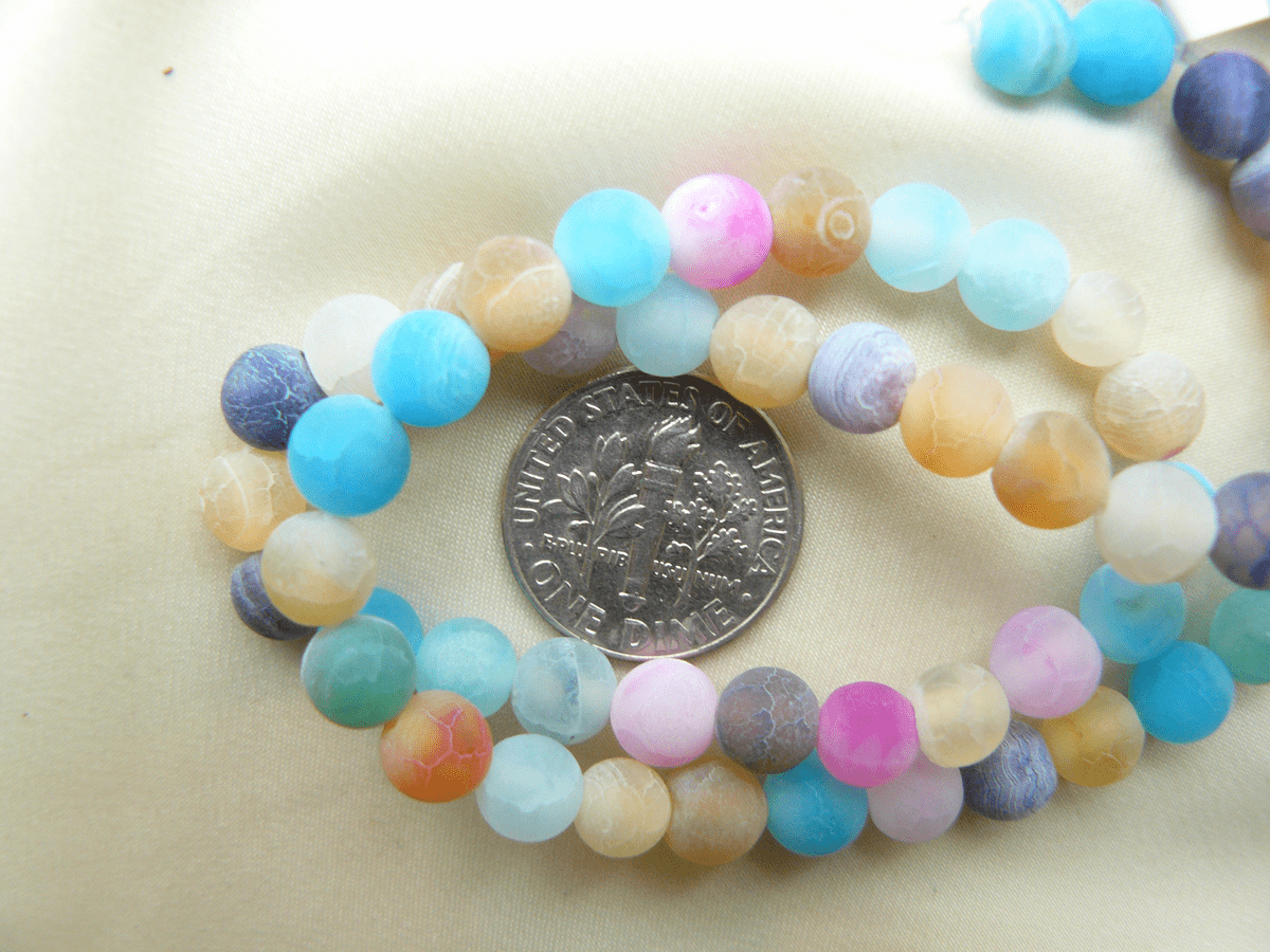 """Rainbow Agate 6mm Frosted 14"""" Strands with assorted Pastel colors"""